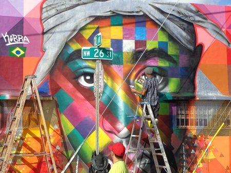Street artists adorn the walls of Wynwood with their graffiti