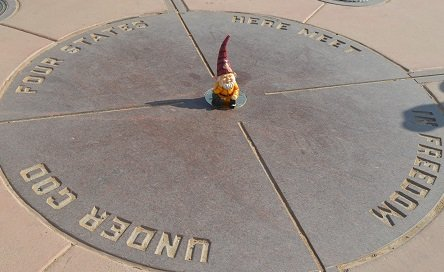 The Four Corners Monument, where Utah, Arizona, Colorado, and New Mexico meet.