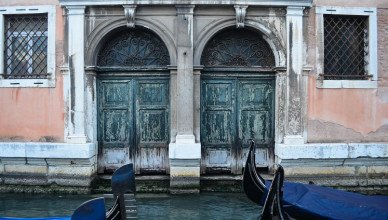 Water-damaged buildings along the canals in Venice