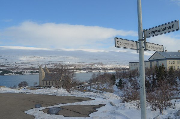 Overlooking the fjord in the small northern town of Akureyri.