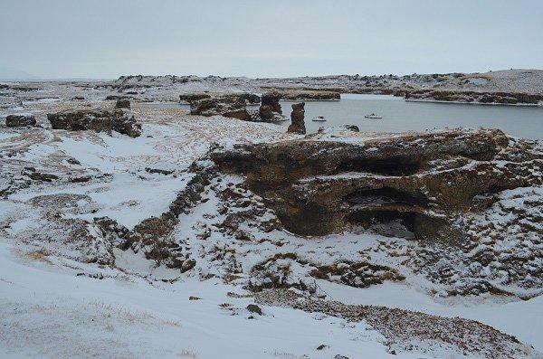 The shaped lava fields of Dimmuborgir.