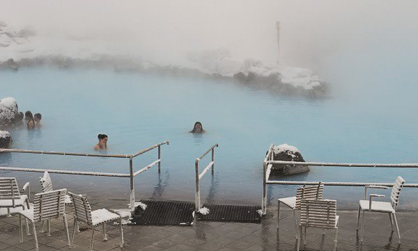 After a long day of sightseeing, it's time for a dip in the hot springs of Myvatn Nature Baths.