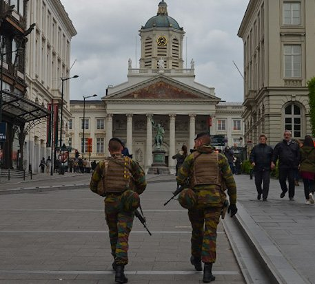 Armed guards in Brussels