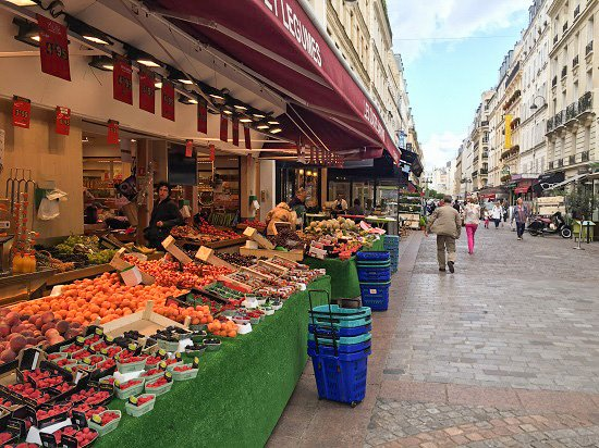 You can get fresh fruit and vegetables all day long on Rue Cler.